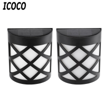 ICOCO 2pcs Outdoor Waterproof IP55 6 LED Solar Powered Wall Light High Efficiency Long Life Energy Saving Fence Shaped Light New(China)
