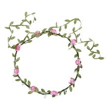 Lady Boho Floral Flower Festival Wedding Garland Forehead Hair Head Band pink