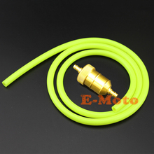 "Gold Billet Aluminum In Line Fuel Filter 1/4""  With Racing Fuel Line Gas Hose For Motorcycle ATV's Dune Buggy Mini Bike Go Kart"