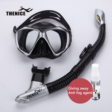 THENICE New Dry Diving Mask Snorkel Glasses Breathing Tube With Solid State Anti-fogging Agent Silicone Scuba Swimming Equipment