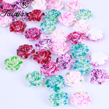 Resin Flowers Flatback Cabochons DIY Jewelry/Phone Decoration No Hole,12MM 14MM Mix color 100pcs/lot(China)
