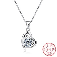 925 Sterling Silver Romantic Necklaces & Pendants Classic Heart Collar Women 18inch Wave Chain Ribbon Jewels Party Gift N0068