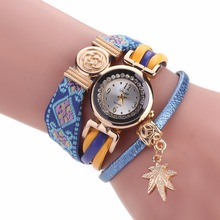 MINHIN Brand Watch Women Girls Multi Layers Bracelet Jewelry Gold Leaf Design Pendant Leather Quartz Wristwatches Retro Gift