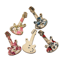 "DoreenBeads Wood Sewing Button Scrapbooking Guitar Mixed Two Holes Flower Pattern 3.5cm(1 3/8"")x 19mm(6/8""),5 PCs 2015 new(China)"