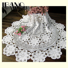 80/100/ 120/140/160CM RD Shabby Chic 5 Sizes Vintage Crocheted Tablecloth Handmade Crochet Coasters Cotton Lace Cup Mat Placemat
