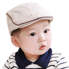 Free Shipping New fashion Design Cute Baby Infant Boy Girl Stripe Beret Cap Peaked Baseball Hat For 0-36 Months Kids(China)