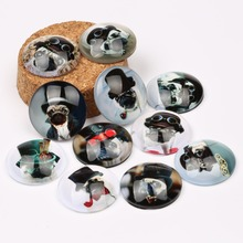 reidgaller 20pcs mixed steampunk dog cat photo round glass cabochons 25mm diy pendant necklace making accessories(China)
