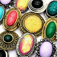 5pcs/lot Mixed Styles Vintage Colorful Big Stone Rings for Women Finger Ring Adjustable Jewelry Accessories