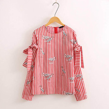 X090 fashion women red striped bow knot deco sleeve o neck birds print pullover shirt ladies sweet blouse tee tops