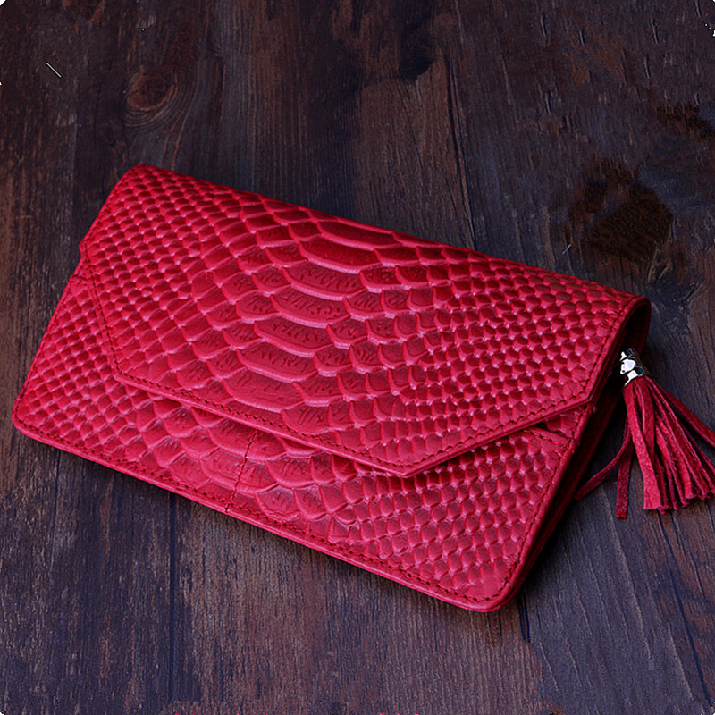 2017 Fashion Genuine Leather Wallet Women Handbag Serpentine Tassel Lady Long Clutch Bag Coin Purse Phone Wallets Composite Bag<br><br>Aliexpress
