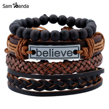 4 Pcs Vintage Multilayer Pu Leather Bracelets For Male Cuff Bracelet Beads Braclet Anchor Braslet Men Pulseras Hombre Sale(China)
