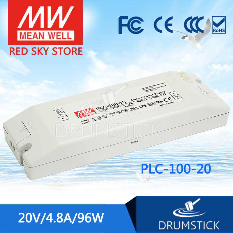 hot-selling MEAN WELL PLC-100-20 20V 4.8A meanwell PLC-100 20V 96W Single Output Switching Power Supply<br>