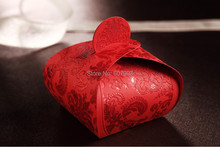 Red Embossed Wedding favor Candy Box,holiday sweets marriage dragee chocolate gifts box party packaging,100/lot, Free shipping