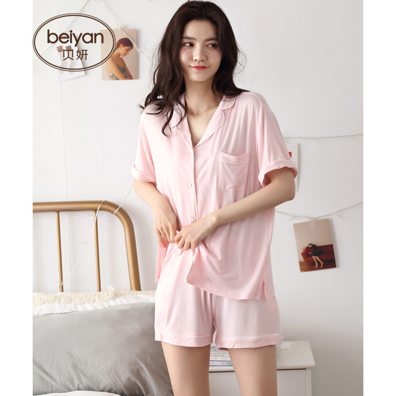Summer Short Sleeve Women's Pajamas Fashion Cardigan Modle Homewear Sexy Lapel Thin Female Summer Suit