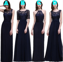Navy Blue Long Mix and Match Bridesmaid Dresses Lace Top Chiffon Skirt Country Formal Beach Boho Wedding Bridesmaid Dress Robes