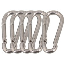 Multifunctional 304 Stainless Steel Spring Snap Carabiner Quick Link Lock Ring Hook M6 60mm Pack of 5(China)