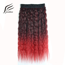 "jeedou Kinky Curly Synthetic Hair Clip in Hair Extensions One Piece 5Clips 24"" 60cm 120g Purple Green Pink Gradient Omber Color(China)"