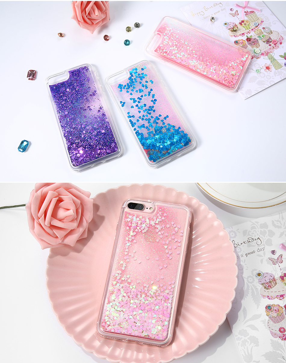 DOEES Bling Liquid Quicksand Phone Case For iPhone 7 7 Plus Shiny Sequin Soft Silicone Case Cover For iPhone 5 5S SE 6 6s Plus (6)