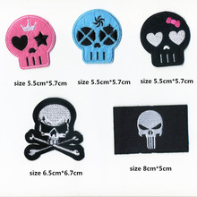 1 pcs Cartoon Pink Blue Skull Stick On Iron On Patch Handwork Sewing Accessories Beauty Delicate Embroidery Badge