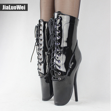 "jialuowei Extreme 18cm/7"" High Spike Heels Exotic Fetish Sexy shiny patent Pointed Toe Lace up Ankle BALLET Boots plus size(China)"