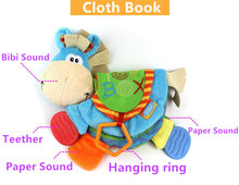 Hot Sale 22cm Baby Cute Donkey Toy Infant quiet book Toy cloth teether Doll Early Development Books Learning Education BB's gift(China)