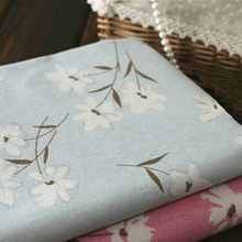 Elegant Floral Print Linen Cotton Material Blue Table Cover Curtains Fabric