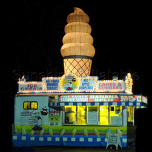 4m roof top decoration giant inflatable ice cream cone/inflatable ice cream with led lights for advertising