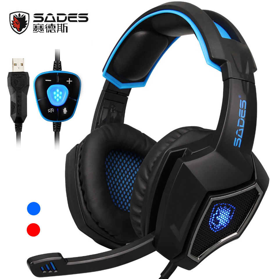 SADES Spirit Wolf USB 7.1 Surround Sound Gaming Headset wired Headphones with Mic Led lights  for laptop pc game<br>