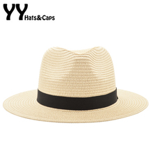 Vintage Panama Hat Men Straw Fedora Male Sunhat Women Summer Beach Sun Visor Cap Chapeau Cool Jazz Trilby Cap Sombrero YY17161(China)