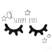 2pcs 3D Wooden Eyelash Home Furnishing Wall Decoration Closed Eye Pose Ornament New kids present baby room decorative Sticker(China)