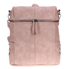 Simple Style Women PU Leather Backpacks For Teenage Girls School Bags Fashion Vintage Solid Shoulder Bag Pink Mochila Rucksack(China)