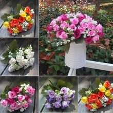 Hot Heads 5 Branches Plastic Leaf Artificial Rose Silk Flower 1 Bouquet of 15 Flower Party Home Wedding Decor Pink