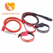 DOGGYZSTYLE PU Dog Leather 2 Colors Rivet Collar Pet Walking Training Leash For Small Medium Big Dogs New Arrival