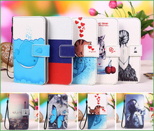 New fashion Style Cartoon Painting PU Leather Flip cover Case For Aligator S5500 Duo HD IPS Case, Lanyard Gift +Tracking number