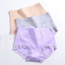 Buy LANGSHA 3PCS/lot Cotton Panties Women High Waist Underwear Sexy Lace Soft Comfort Women Briefs Seamless Slimming Girls Lingerie