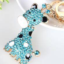 Blue Giraffe Long Neck Lovely Pendant Cute Rhinestone Crystal Purse Bag Key chain Fashion Style Best Gift