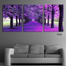 3 Panels/Set HD Violet tree Canvas Purple Painting Artwork Home Decor Poster Wall Art the Picture Gift Living Room (Unframed)