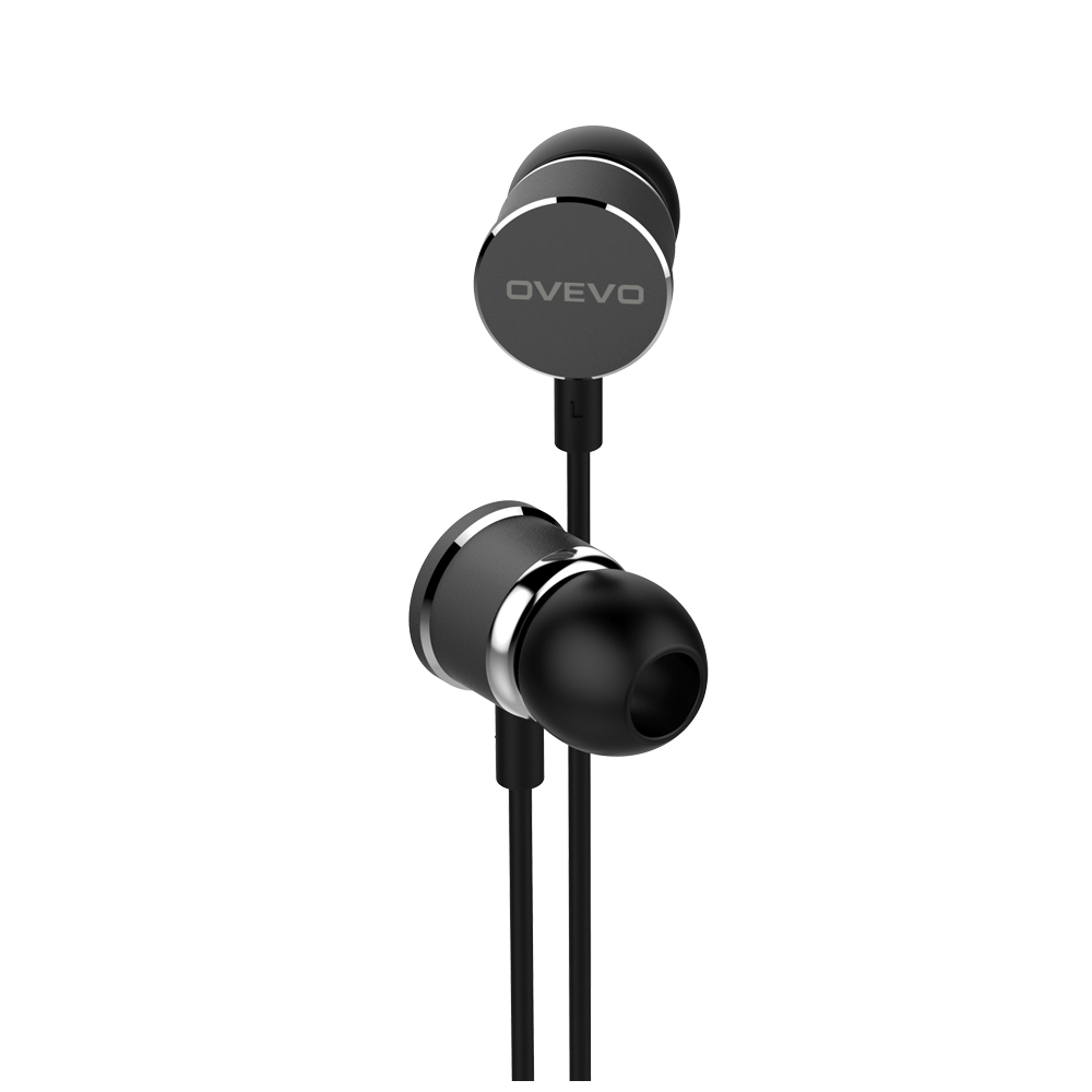 OVEVO S8 high quality Stereo In-Ear Earphone Line Control Mic Noise Cancelling Bass Headset for MP3,Smartphone black