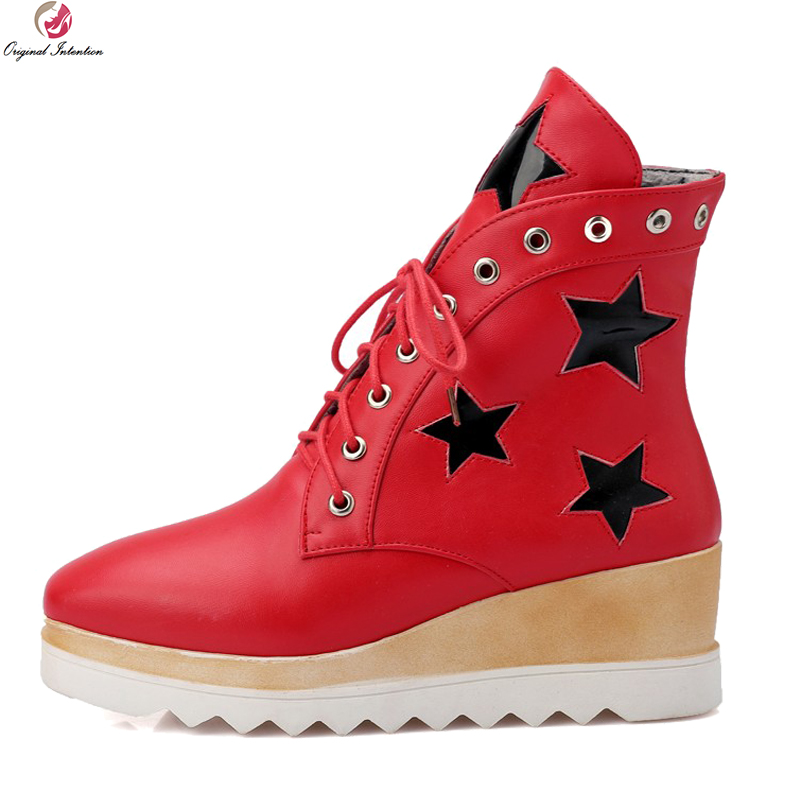 Original Intention Stylish 3 Colors Women Ankle Boots Fashion Platform Wedges Height Increasing Black White Red Cool Shoes Woman<br>