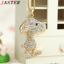 JASTER Cute animal necklace crystal jewelry usb flash drive mouse jewerly keychiain puppy pendrive 32gb memory stick(China)