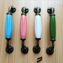 "128mm unfold install bronze kitchen cabinet dresser door handle pink blue white green ceramic watch tv table drawer pull knob 5""(China)"