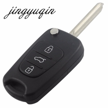 jingyuqin Remote Flip Folding Key Shell Case 3 Buttons Fit For Hyundai Kia Keyless Entry Fob Cover Car Alarm Housing