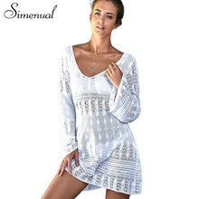 Buy Simenual Flare sleeve lace beach dress party V neck short white summer dresses women outputs beachwear 2017 sexy hot pareos sale for $12.99 in AliExpress store