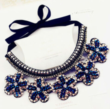 Free shipping new fashion jewelry accessories punk Metal blue flower crystal false collar necklace wholesale Dickie folk women(China)