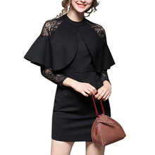 New Women dress 2017 Spring Large Size Sexy Lap lace Clothing stitching Slim Solid color Nine Points Fashion Vestidos ONE003