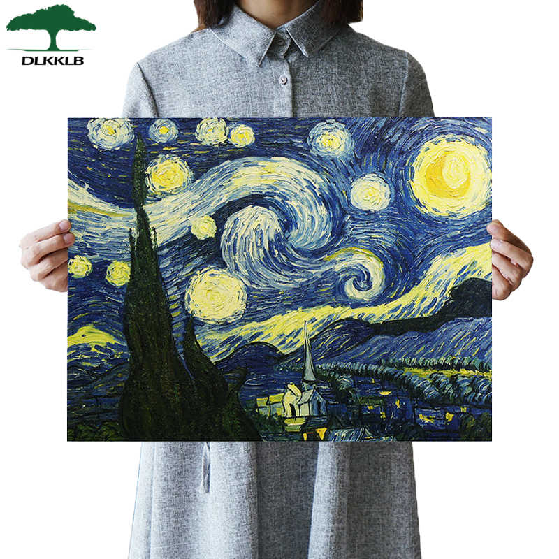 Van Gogh Impressionist Masterpiece Painting Starry Sky Art Poster Paper Bar Cafe Home Adornment Wall Sticker Decorative Painting