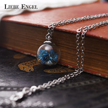 LIEBE ENGEL 2017 Wish Glass Bottle Real Dried Flower Pendant Necklace Maxi Choker Silver Color Chain Women Fashion Jewelry Anime(China)