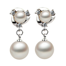 South Korean star Pearl imported  double ball 925 Sterling Silver Stud Earrings female jewelry wholesale manufacturers