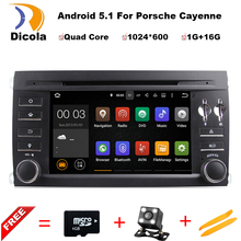 HD 1024*600 Touch Screen Quad Core Android 5.1.1 Car DVD Player for Porsche Cayenne 2003-2010 with GPS BT Wifi Radio Free Maps