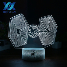 HUI YUAN Titanium war machine 3D Night Light RGB Changeable Mood Lamp 7 Color Cool Night Light for Christmas Child Gift USB Deco(China)